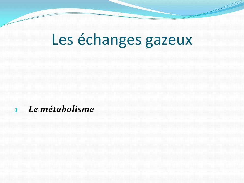 Les échanges gazeux 1 Le métabolisme
