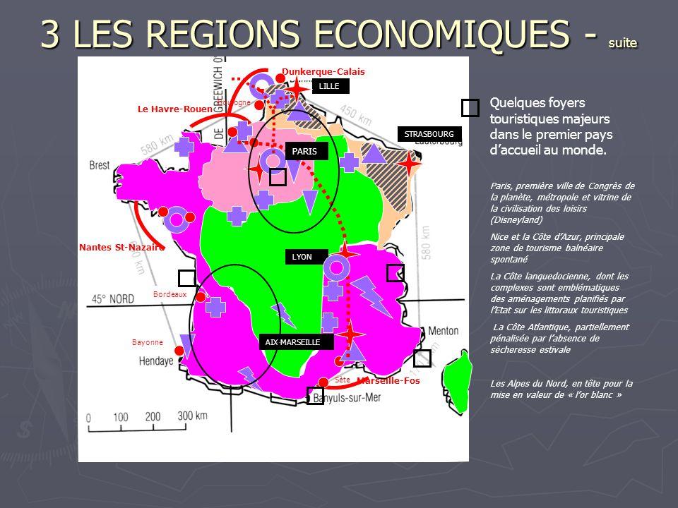 3 LES REGIONS ECONOMIQUES - suite Quelques foyers touristiques majeurs dans le premier pays d'accueil au monde. Paris, première ville de Congrès de la