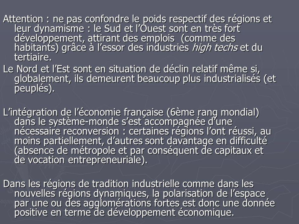 Attention : ne pas confondre le poids respectif des régions et leur dynamisme : le Sud et l'Ouest sont en très fort développement, attirant des emploi