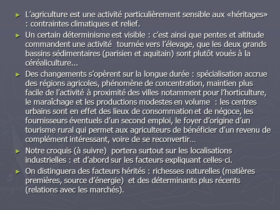 ► L'agriculture est une activité particulièrement sensible aux «héritages» : contraintes climatiques et relief. ► Un certain déterminisme est visible