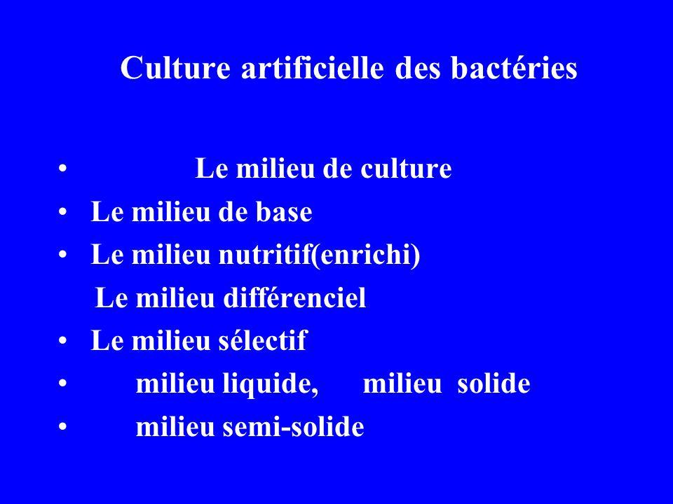 Culture artificielle des bactéries Le milieu de culture Le milieu de base Le milieu nutritif(enrichi) Le milieu différenciel Le milieu sélectif milieu liquide, milieu solide milieu semi-solide