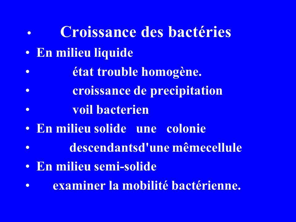 Croissance des bactéries En milieu liquide état trouble homogène.
