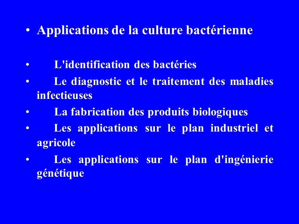 Applications de la culture bactérienne L identification des bactéries Le diagnostic et le traitement des maladies infectieuses La fabrication des produits biologiques Les applications sur le plan industriel et agricole Les applications sur le plan d ingénierie génétique