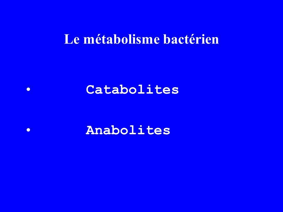 Le métabolisme bactérien Catabolites Anabolites