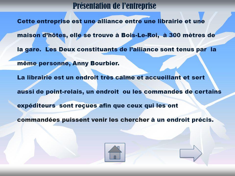 Présentation de l'entreprise Cette entreprise est une alliance entre une librairie et une maison d'hôtes, elle se trouve à Bois-Le-Roi, à 300 mètres de la gare.
