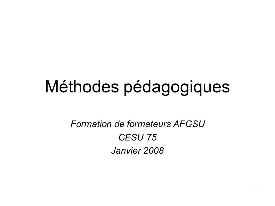 1 Méthodes pédagogiques Formation de formateurs AFGSU CESU 75 Janvier 2008