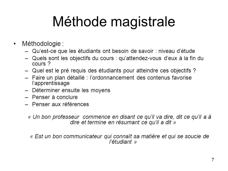 7 Méthode magistrale Méthodologie : –Qu'est-ce que les étudiants ont besoin de savoir : niveau d'étude –Quels sont les objectifs du cours : qu'attendez-vous d'eux à la fin du cours .