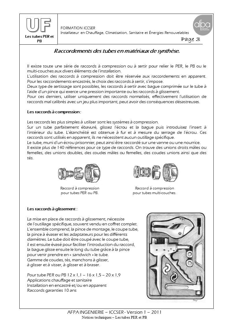 Les tubes PER et PB Page 3 AFPA INGENIERIE – ICCSER - Version 1 – 2011 Notices techniques – Les tubes PER et PB FORMATION ICCSER Installateur en Chauffage, Climatisation, Sanitaire et Énergies Renouvelables Il existe toute une série de raccords à compression ou à sertir pour relier le PER, le PB ou le multi-couches aux divers éléments de l'installation.