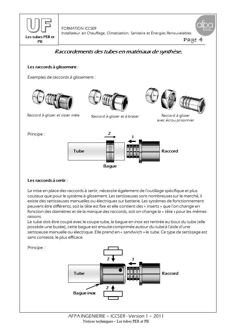 Les tubes PER et PB Page 4 AFPA INGENIERIE – ICCSER - Version 1 – 2011 Notices techniques – Les tubes PER et PB FORMATION ICCSER Installateur en Chauffage, Climatisation, Sanitaire et Énergies Renouvelables Les raccords à glissement : Exemples de raccords à glissement : Principe : Les raccords à sertir : La mise en place des raccords à sertir, nécessite également de l'outillage spécifique et plus couteux que pour le système à glissement.