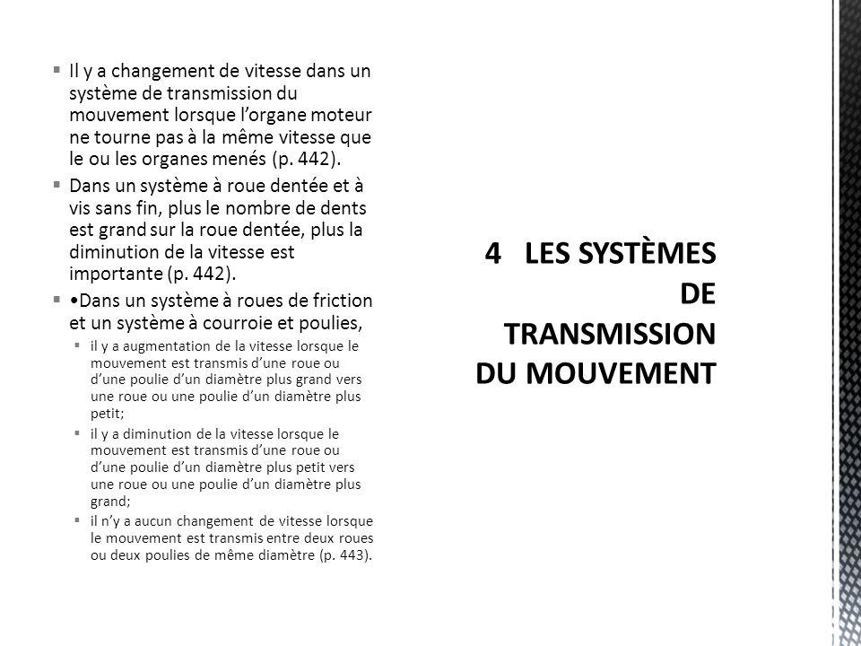  Il y a changement de vitesse dans un système de transmission du mouvement lorsque l'organe moteur ne tourne pas à la même vitesse que le ou les organes menés (p.