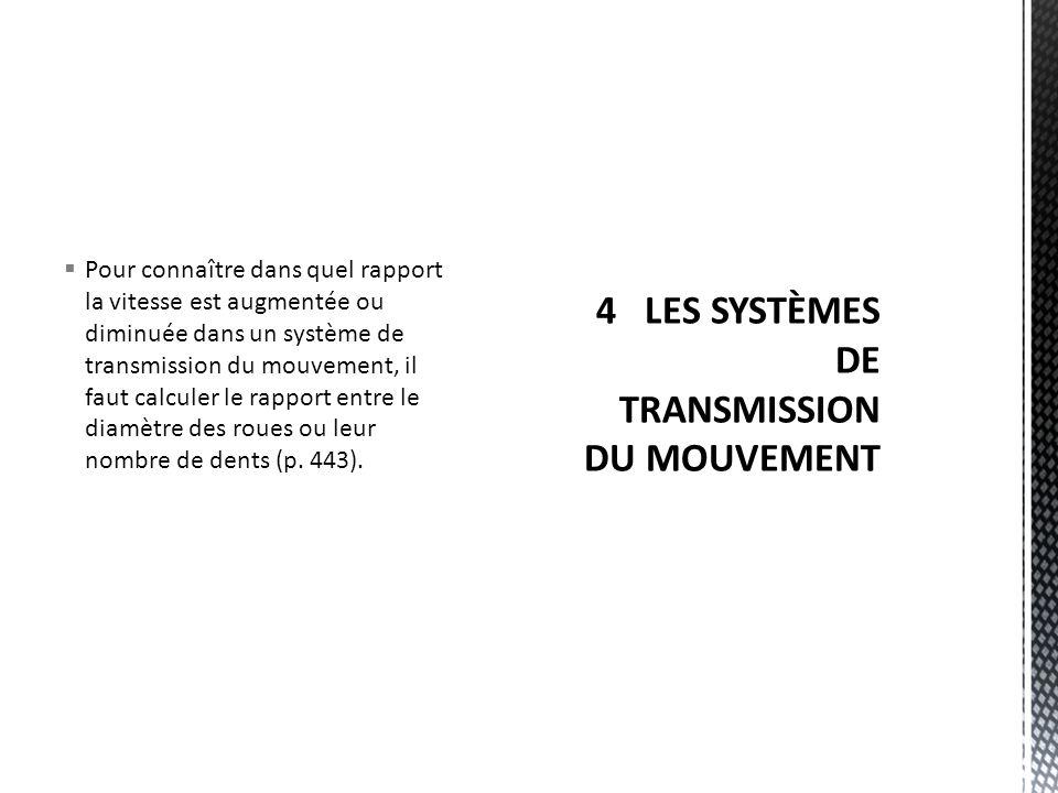 Pour connaître dans quel rapport la vitesse est augmentée ou diminuée dans un système de transmission du mouvement, il faut calculer le rapport entre le diamètre des roues ou leur nombre de dents (p.