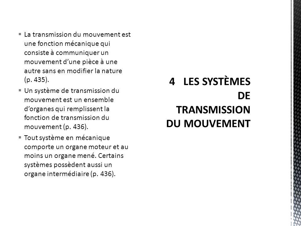  Les systèmes de transmission du mouvement les plus souvent utilisés sont :  les systèmes à roue dentées;  les systèmes à chaîne et à roues dentées;  les systèmes à roue dentée et à vis sans fin;  les systèmes à roues de friction;  les systèmes à courroie et à poulies (p.