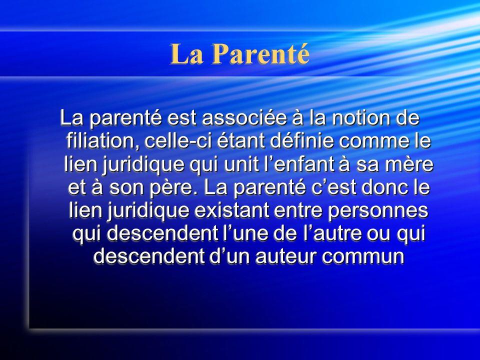 La Parenté La parenté est associée à la notion de filiation, celle-ci étant définie comme le lien juridique qui unit l'enfant à sa mère et à son père.