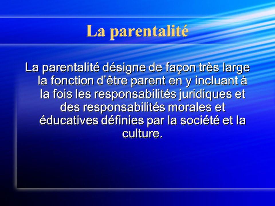 La parentalité La parentalité désigne de façon très large la fonction d'être parent en y incluant à la fois les responsabilités juridiques et des responsabilités morales et éducatives définies par la société et la culture.