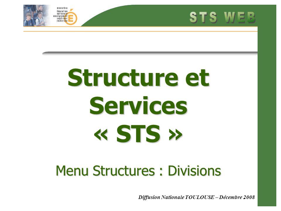 Menu Structure : Divisions Diffusion Nationale TOULOUSE – Décembre 2008 Structure et Services « STS » Menu Structures : Divisions