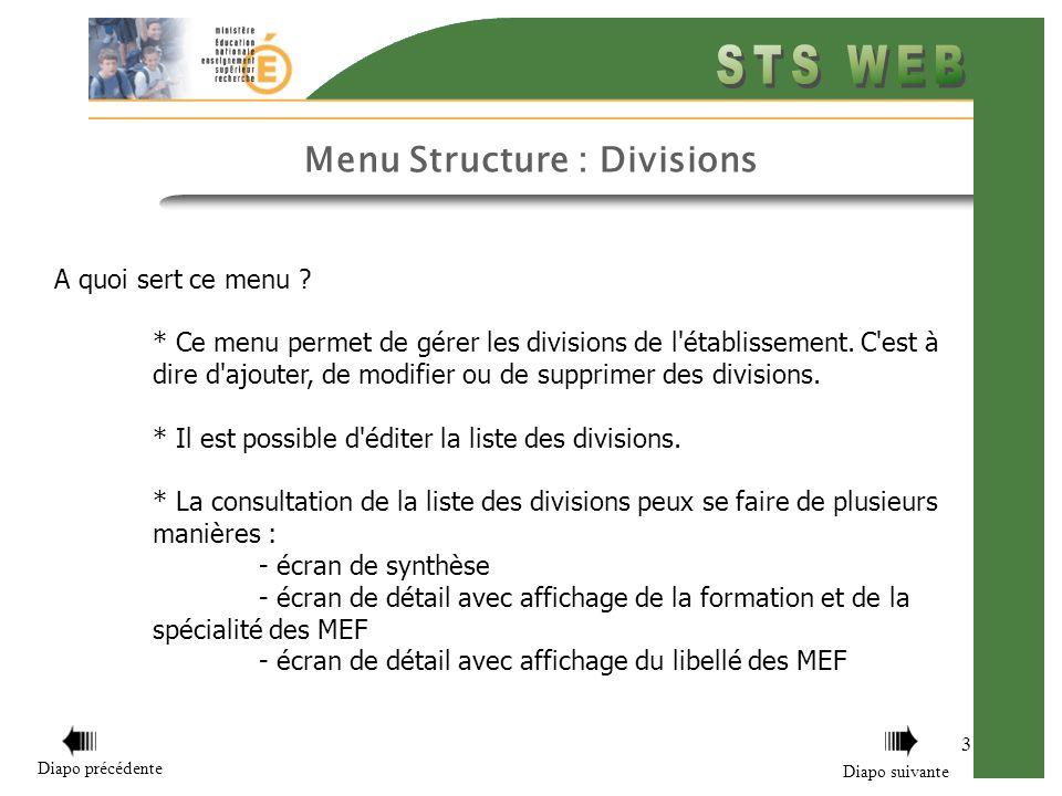 Menu Structure : Divisions 3 A quoi sert ce menu .