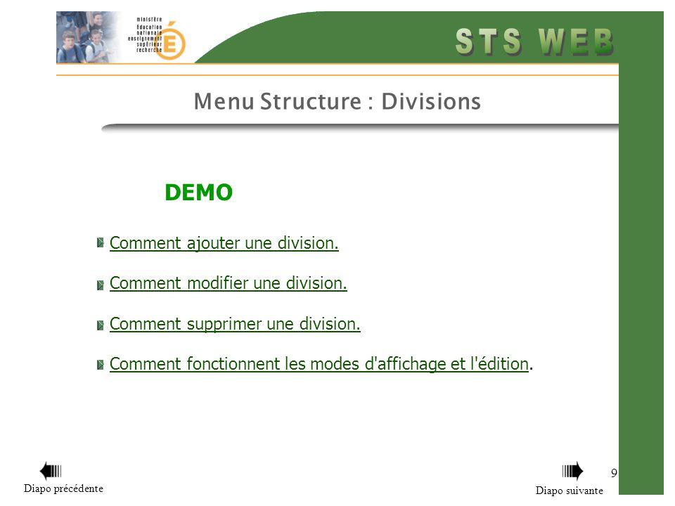 Menu Structure : Divisions 9 DEMO Comment ajouter une division.