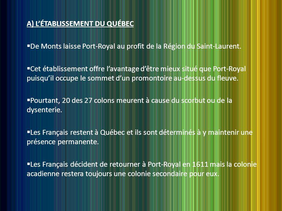 A) L'ÉTABLISSEMENT DU QUÉBEC  De Monts laisse Port-Royal au profit de la Région du Saint-Laurent.