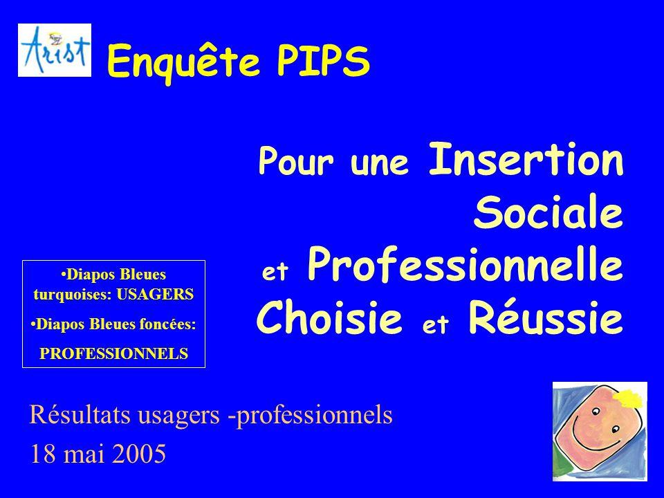 1 Pour une Insertion Sociale et Professionnelle Choisie et Réussie Résultats usagers -professionnels 18 mai 2005 Enquête PIPS Diapos Bleues turquoises