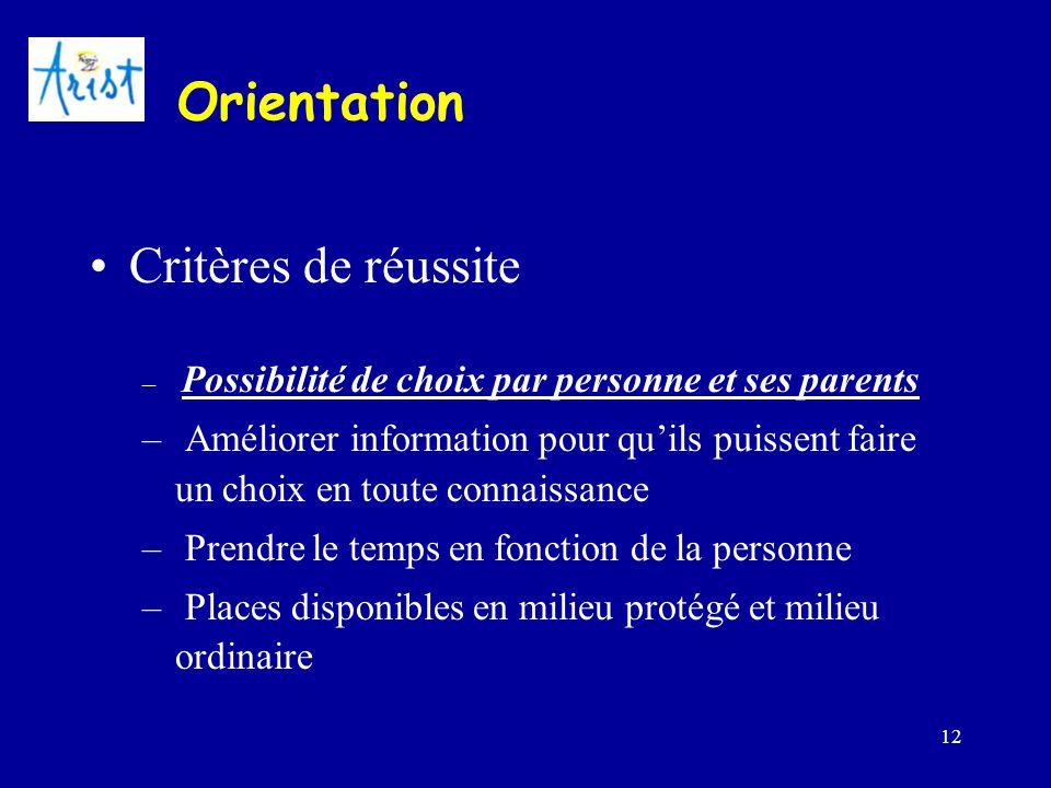 12 Orientation Critères de réussite – Possibilité de choix par personne et ses parents – Améliorer information pour qu'ils puissent faire un choix en