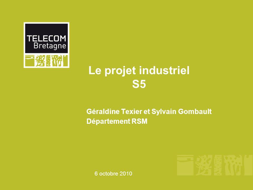 6 octobre 2010 Le projet industriel S5 Géraldine Texier et Sylvain Gombault Département RSM