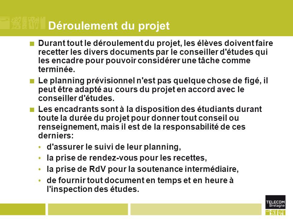 Déroulement du projet Durant tout le déroulement du projet, les élèves doivent faire recetter les divers documents par le conseiller d études qui les encadre pour pouvoir considérer une tâche comme terminée.