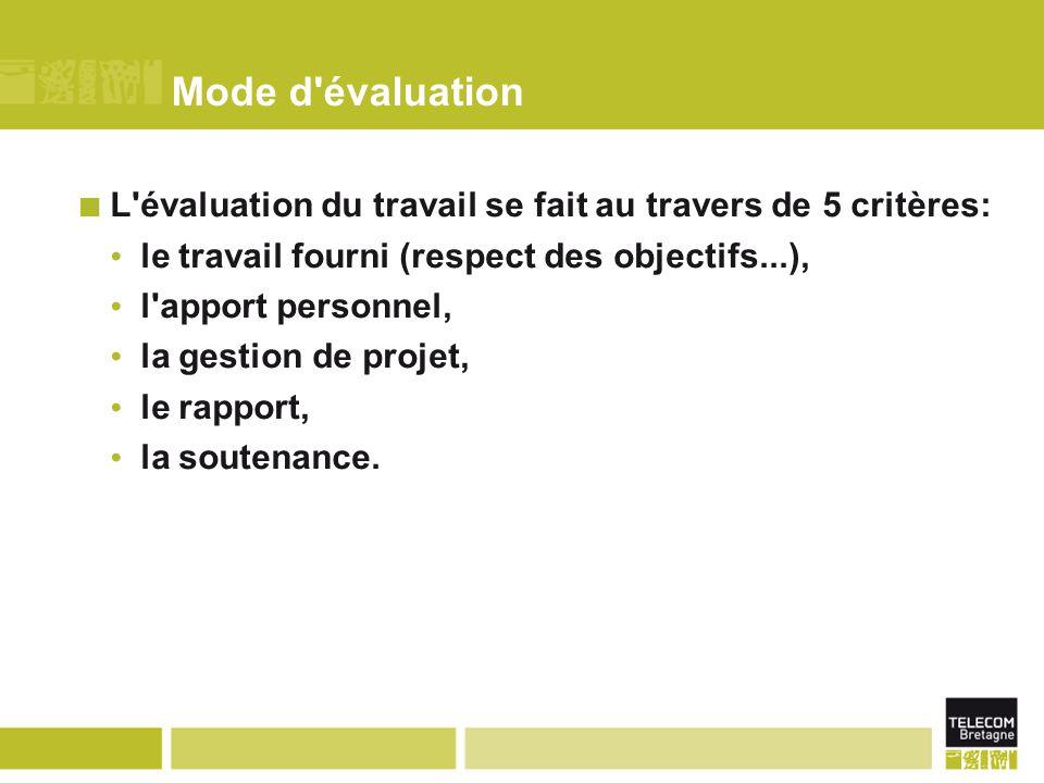 Mode d évaluation L évaluation du travail se fait au travers de 5 critères: le travail fourni (respect des objectifs...), l apport personnel, la gestion de projet, le rapport, la soutenance.