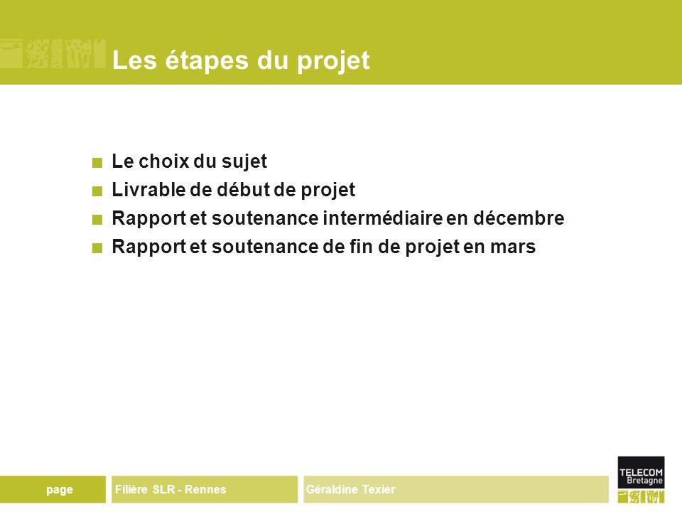 Géraldine TexierpageFilière SLR - Rennes Les étapes du projet Le choix du sujet Livrable de début de projet Rapport et soutenance intermédiaire en décembre Rapport et soutenance de fin de projet en mars