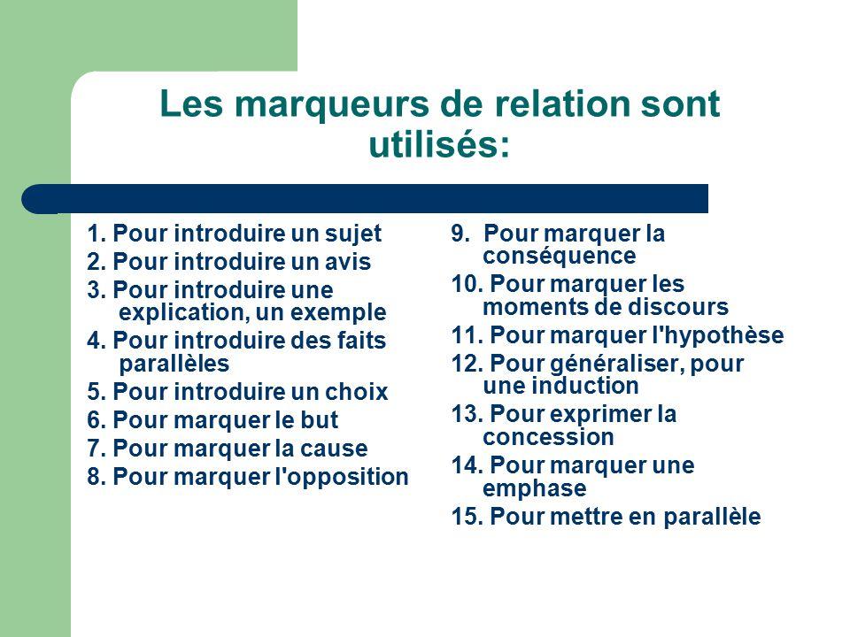 Les marqueurs de relation sont utilisés: 1.Pour introduire un sujet 2.
