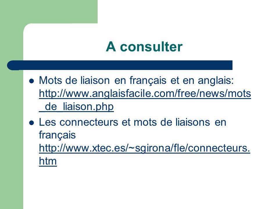 A consulter Mots de liaison en français et en anglais: http://www.anglaisfacile.com/free/news/mots _de_liaison.php http://www.anglaisfacile.com/free/news/mots _de_liaison.php Les connecteurs et mots de liaisons en français http://www.xtec.es/~sgirona/fle/connecteurs.