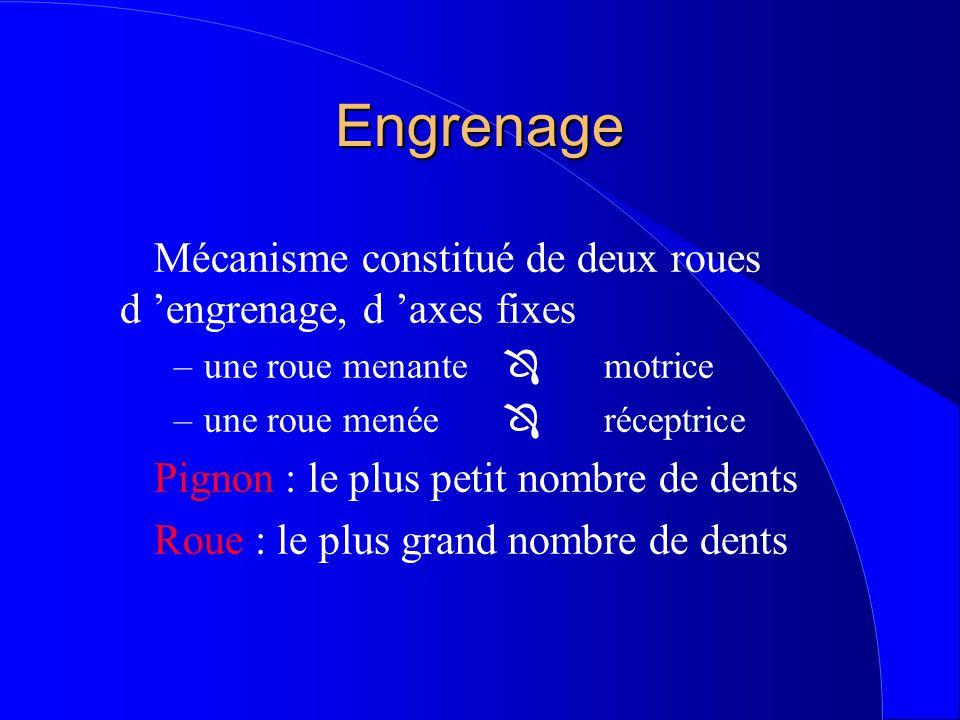 Engrenage Mécanisme constitué de deux roues d 'engrenage, d 'axes fixes –une roue menante  motrice –une roue menée  réceptrice Pignon : le plus petit nombre de dents Roue : le plus grand nombre de dents