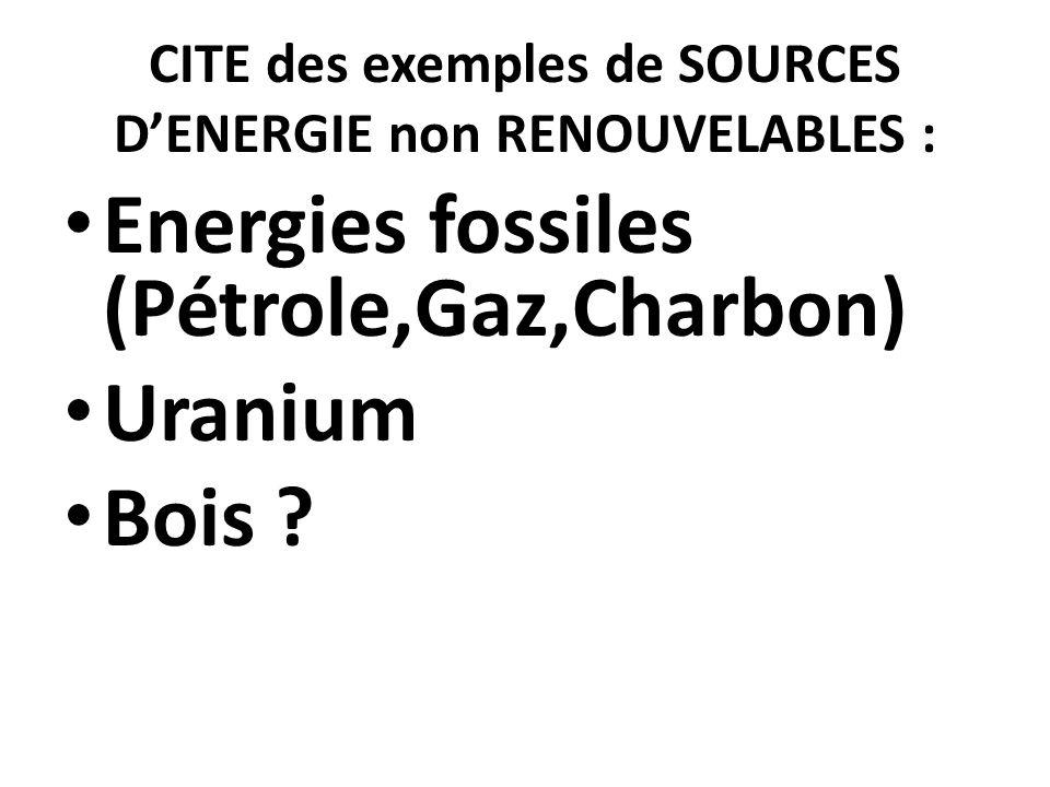 CITE des exemples de SOURCES D'ENERGIE non RENOUVELABLES : Energies fossiles (Pétrole,Gaz,Charbon) Uranium Bois ?
