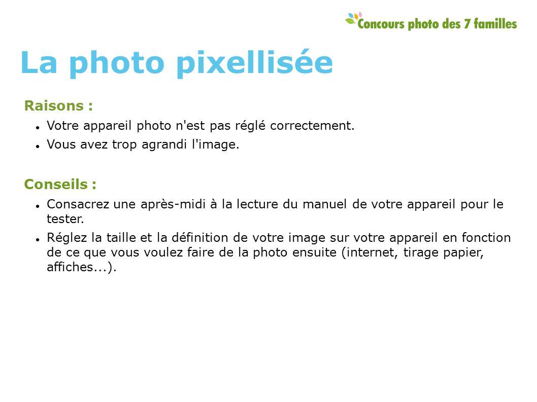 Raisons : Votre appareil photo n est pas réglé correctement.