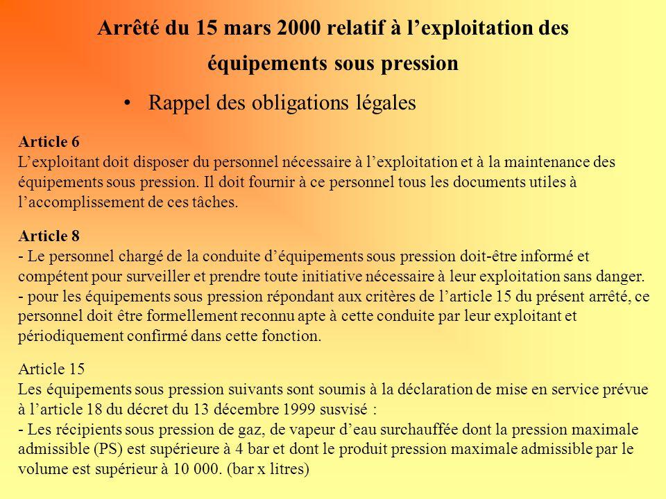 Arrêté du 15 mars 2000 relatif à l'exploitation des équipements sous pression Rappel des obligations légales Article 6 L'exploitant doit disposer du personnel nécessaire à l'exploitation et à la maintenance des équipements sous pression.