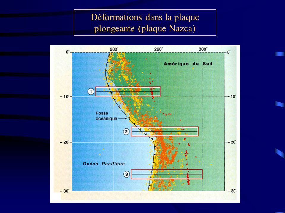Déformations dans la plaque plongeante (plaque Nazca)