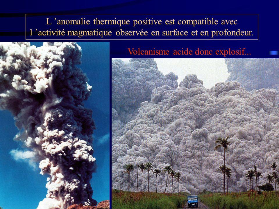 L 'anomalie thermique positive est compatible avec l 'activité magmatique observée en surface et en profondeur.
