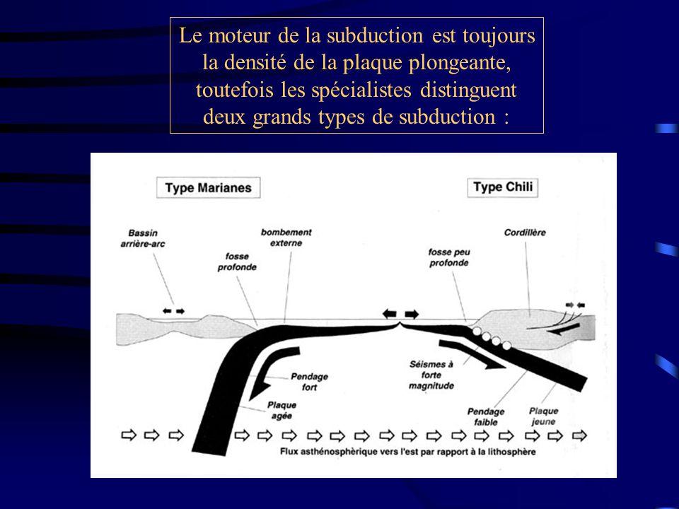 Le moteur de la subduction est toujours la densité de la plaque plongeante, toutefois les spécialistes distinguent deux grands types de subduction :