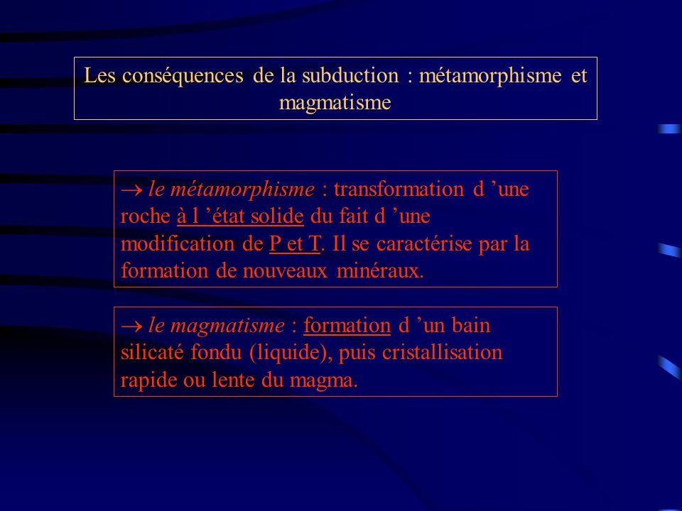 Les conséquences de la subduction : métamorphisme et magmatisme  le métamorphisme : transformation d 'une roche à l 'état solide du fait d 'une modification de P et T.