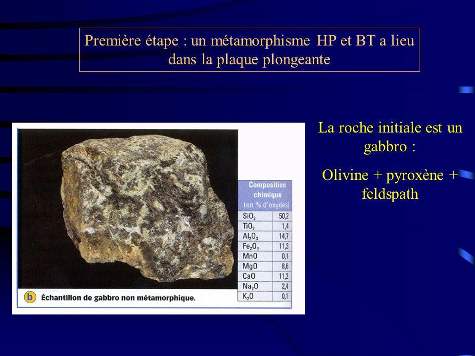 Première étape : un métamorphisme HP et BT a lieu dans la plaque plongeante La roche initiale est un gabbro : Olivine + pyroxène + feldspath