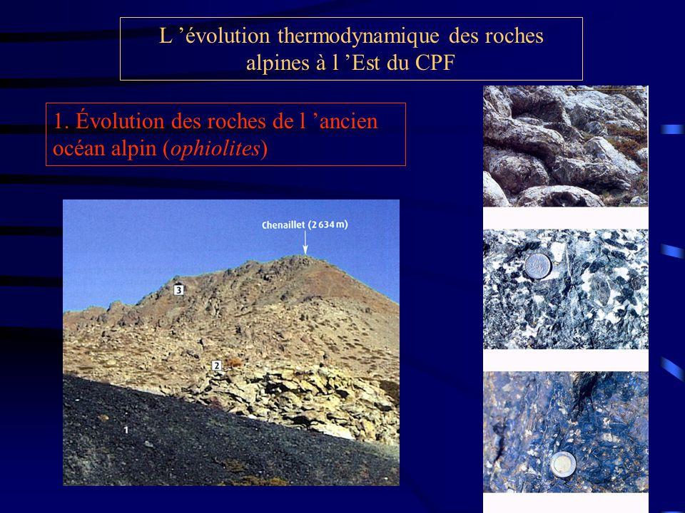 L 'évolution thermodynamique des roches alpines à l 'Est du CPF 1.