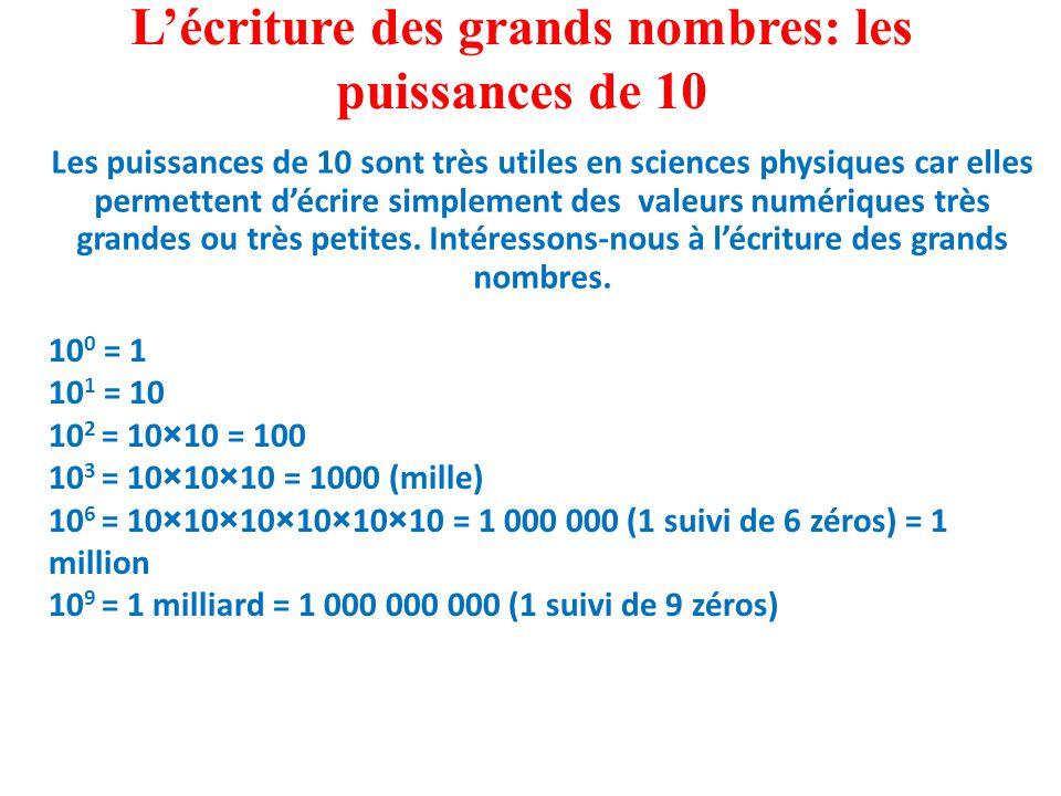 L'écriture des grands nombres: les puissances de 10 Les puissances de 10 sont très utiles en sciences physiques car elles permettent d'écrire simplement des valeurs numériques très grandes ou très petites.