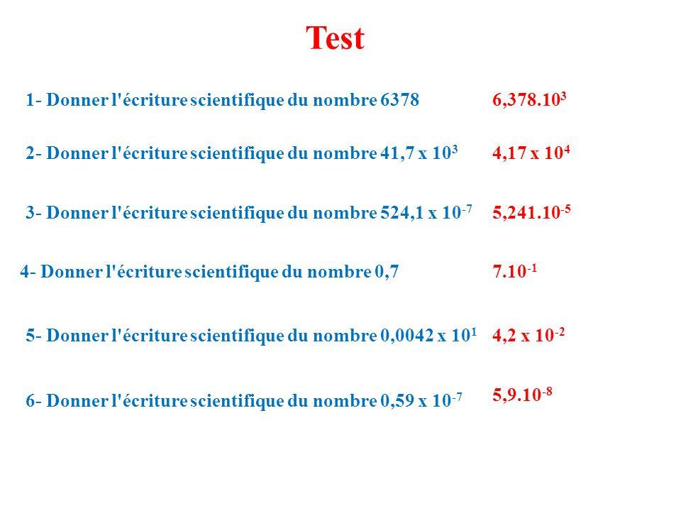 Test 6- Donner l écriture scientifique du nombre 0,59 x 10 -7 1- Donner l écriture scientifique du nombre 6378 2- Donner l écriture scientifique du nombre 41,7 x 10 3 3- Donner l écriture scientifique du nombre 524,1 x 10 -7 4- Donner l écriture scientifique du nombre 0,7 5- Donner l écriture scientifique du nombre 0,0042 x 10 1 6,378.10 3 4,17 x 10 4 5,241.10 -5 7.10 -1 4,2 x 10 -2 5,9.10 -8