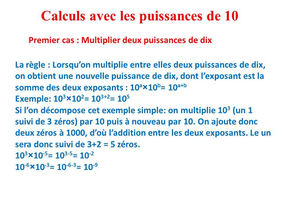 La règle : Lorsqu'on multiplie entre elles deux puissances de dix, on obtient une nouvelle puissance de dix, dont l'exposant est la somme des deux exposants : 10 a ×10 b = 10 a+b Exemple: 10 3 ×10 2 = 10 3+2 = 10 5 Si l'on décompose cet exemple simple: on multiplie 10 3 (un 1 suivi de 3 zéros) par 10 puis à nouveau par 10.