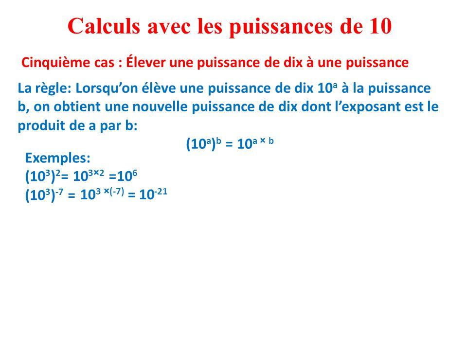 Exemples: (10 3 ) 2 = (10 3 ) -7 = Calculs avec les puissances de 10 Cinquième cas : Élever une puissance de dix à une puissance La règle: Lorsqu'on élève une puissance de dix 10 a à la puissance b, on obtient une nouvelle puissance de dix dont l'exposant est le produit de a par b: (10 a ) b = 10 a × b 10 3×2 =10 6 10 3 ×(-7) =10 -21