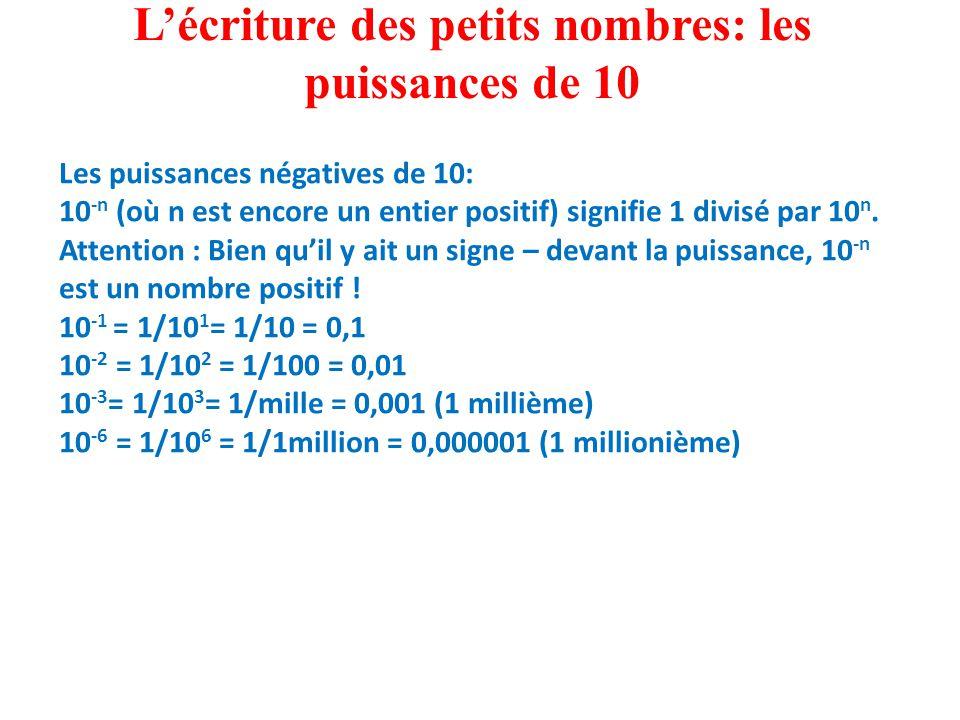 L'écriture des petits nombres: les puissances de 10 Les puissances négatives de 10: 10 -n (où n est encore un entier positif) signifie 1 divisé par 10 n.