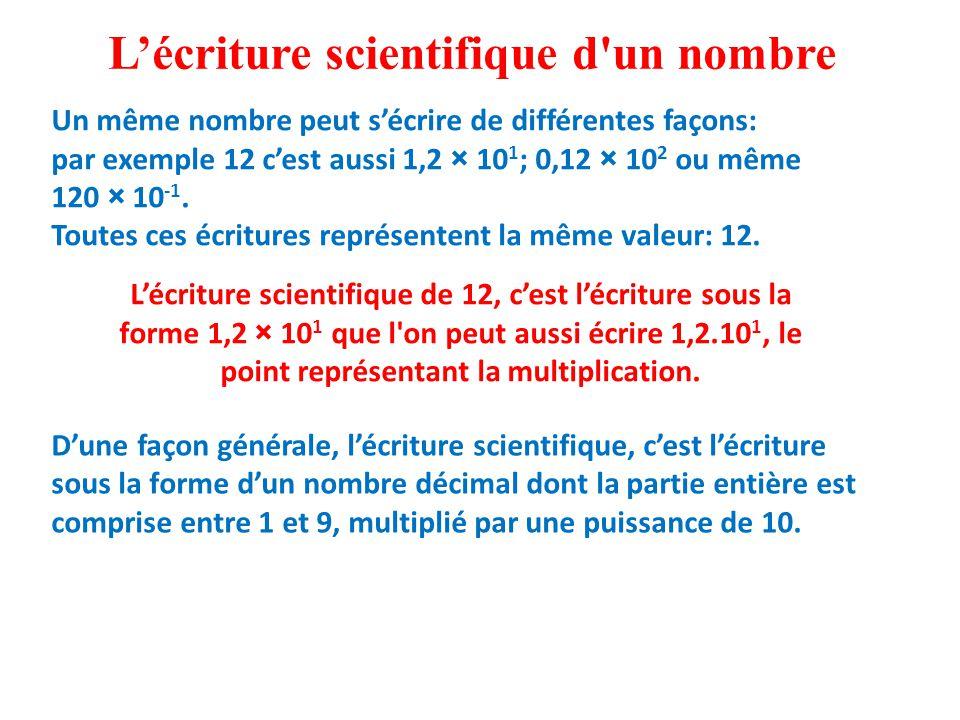 L'écriture scientifique d un nombre Un même nombre peut s'écrire de différentes façons: par exemple 12 c'est aussi 1,2 × 10 1 ; 0,12 × 10 2 ou même 120 × 10 -1.