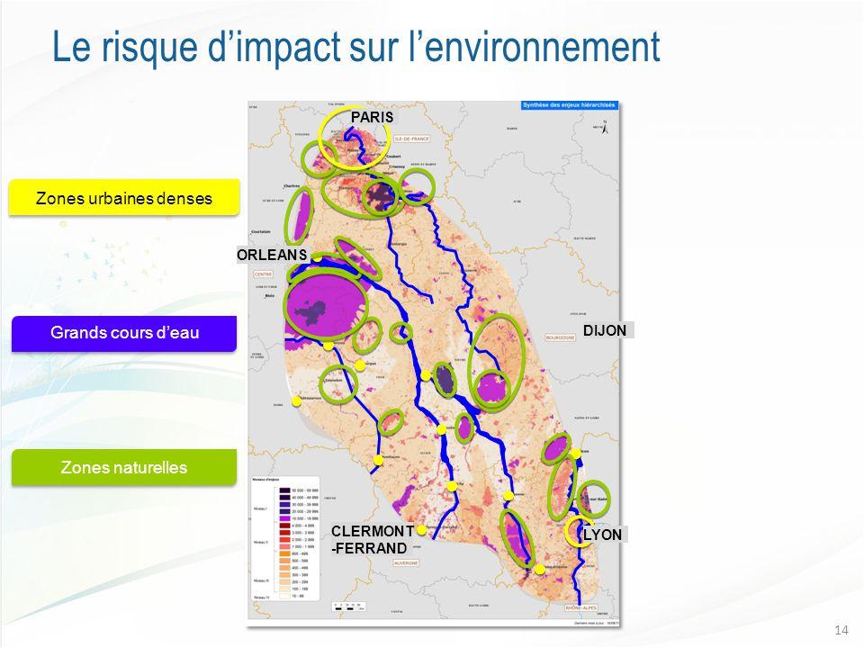 Le risque d'impact sur l'environnement 14 Zones naturelles Grands cours d'eau Zones urbaines denses CLERMONT -FERRAND LYON ORLEANS DIJON PARIS