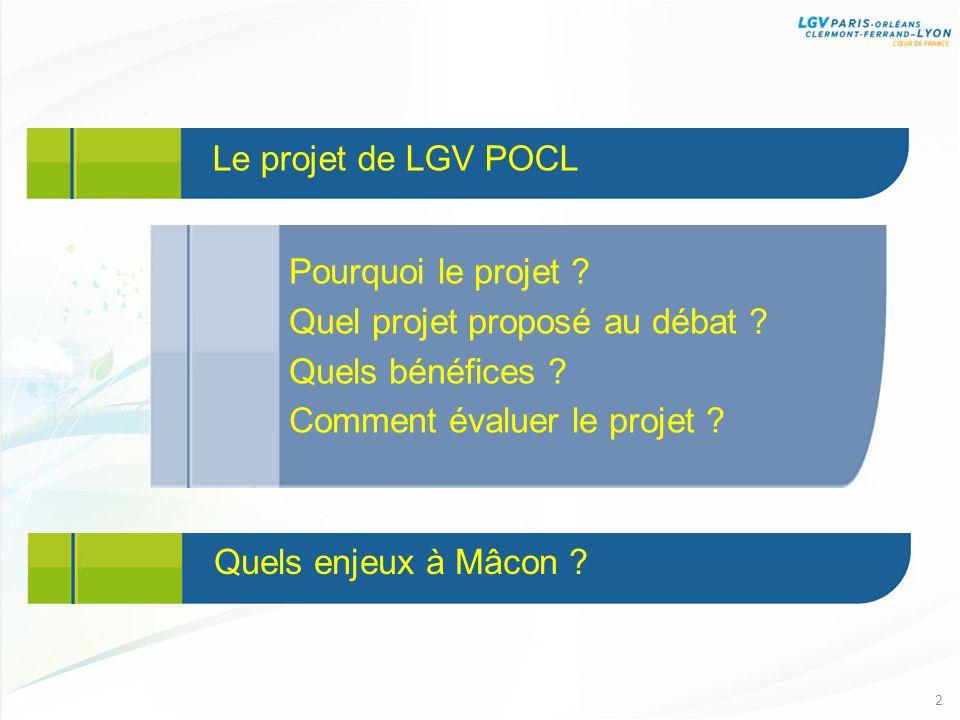 Le projet de LGV POCL 2 Pourquoi le projet . Quel projet proposé au débat .