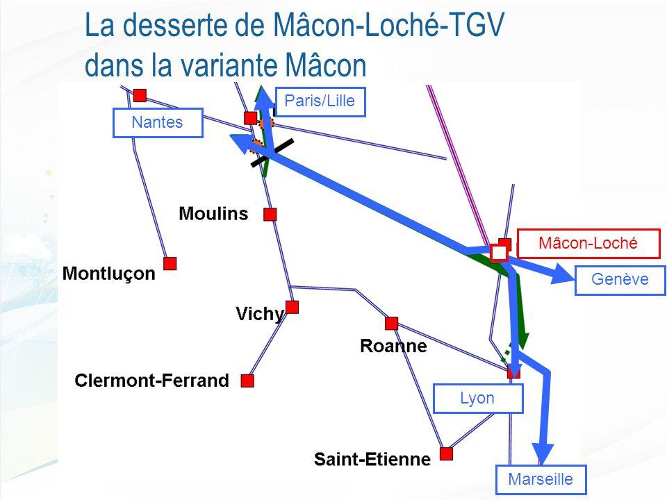 La desserte de Mâcon-Loché-TGV dans la variante Mâcon Genève Marseille Lyon Nantes Paris/Lille Mâcon-Loché