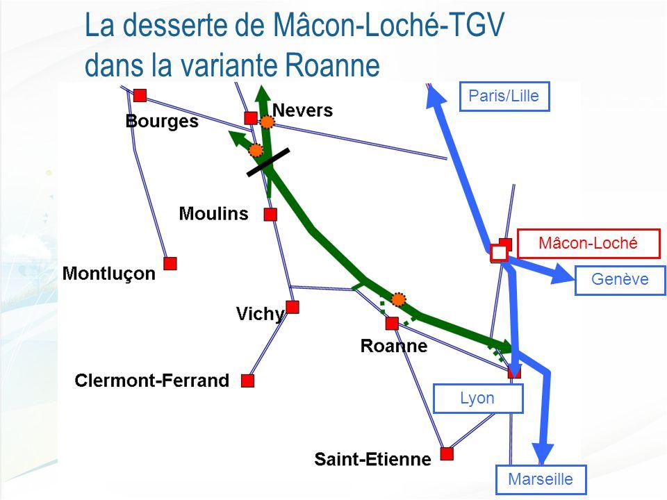 La desserte de Mâcon-Loché-TGV dans la variante Roanne Genève Marseille Lyon Paris/Lille Mâcon-Loché